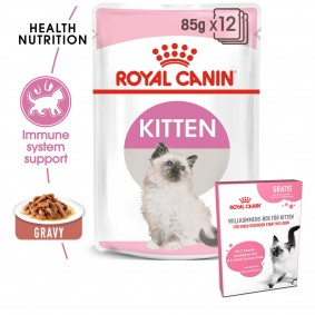 ROYAL CANIN Feline Health Nutrition Kitten in Soße 12x85g + ROYAL CANIN Willkommens-Box Kitten