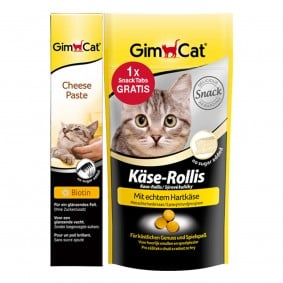 GimCat Aktionspaket Cheese Paste 50g plus Käse-Rollis 40g