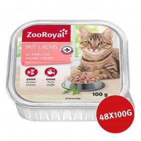 ZooRoyal Katzen-Nassfutter mit Lachs an Kräuter-Sahne-Creme 48x100g