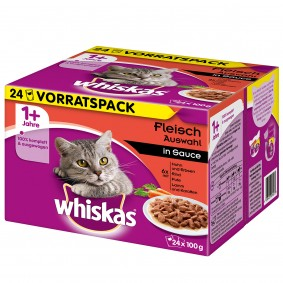 Whiskas Adult 1+ Fleischauswahl in Sauce 24x100g