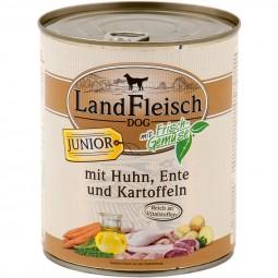 Landfleisch Hunde-Nassfutter Dog Junior Huhn, Ente & Kartoffeln