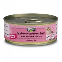 Grau Schlemmertöpfchen Kittenmenü mit Rind, Pute & Karotten