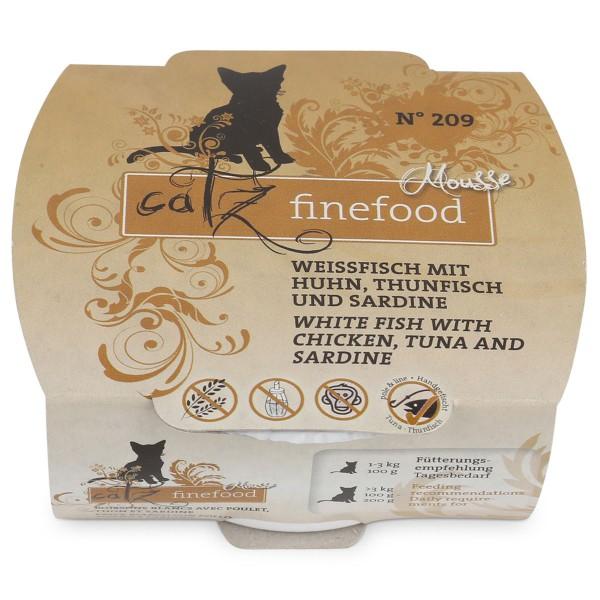 Catz finefood Mousse N°209 Weissfisch mit Huhn, Thunfisch und Sardine