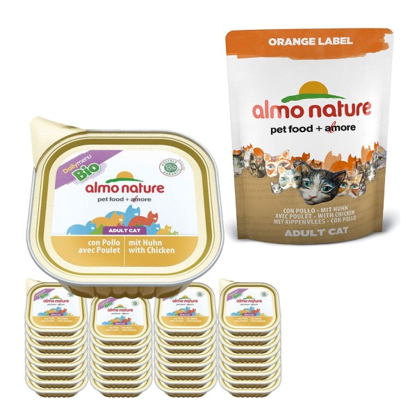 Almo Nature Daily Menü 32x100g + Almo Nature Orange Label Dry Huhn Gratis