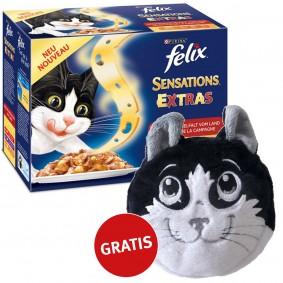 Felix Multipack -Sensations Extras Geschmacksvielfalt vom Land 48x100g plus gratis Katzenkissen