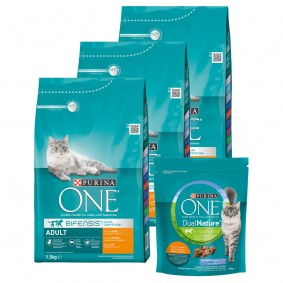 Purina One Bifensis Huhn 3x1,5kg + Dual Nature Adult Huhn mit Spirulina 750g gratis