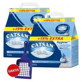 Catsan 2x10l Hygiene plus Katzenstreu mit Schaufel und 15% Inhalt gratis