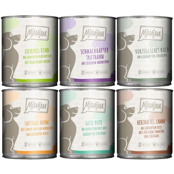 MjAMjAM Mixpaket II mit Huhn&Ente, Rind, Pute, Kalb, Truthahn, Lamm 6x800g