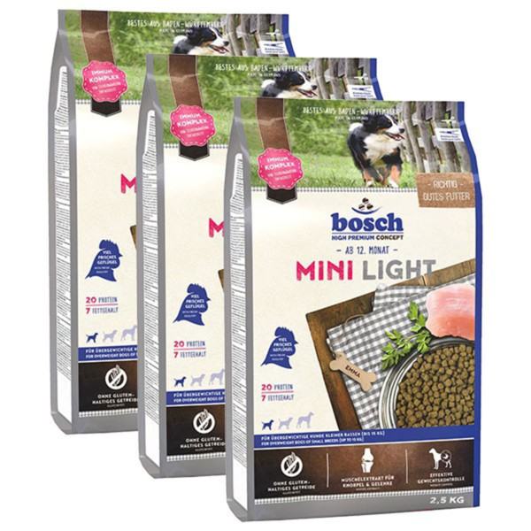 bosch hundefutter mini light 3x2 5kg g nstig kaufen bei zooroyal. Black Bedroom Furniture Sets. Home Design Ideas