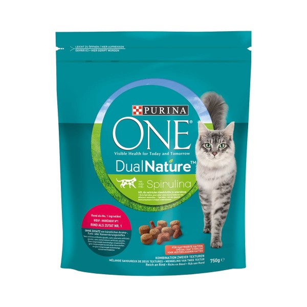 PURINA ONE DUAL NATURE Sterilized Rind mit Spirulina 750g