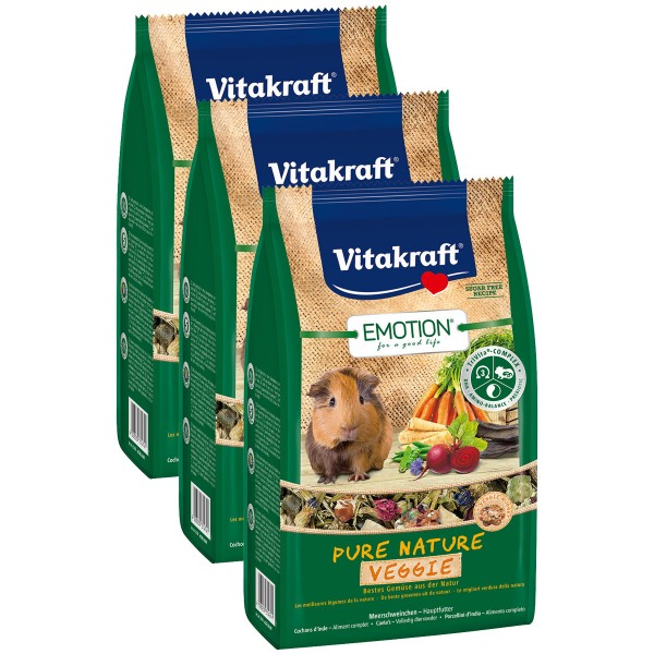 Vitakraft Emotion Pure Nature Veggie Meerschweinchen 3x600g
