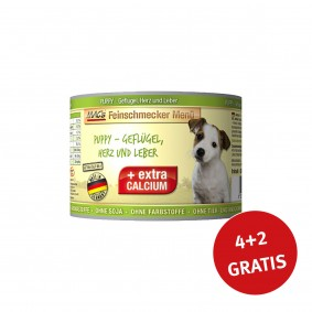 MAC's Dog Feinschmecker Menü PUPPY- Geflügel, Herz und Leber 200g 4+2 GRATIS