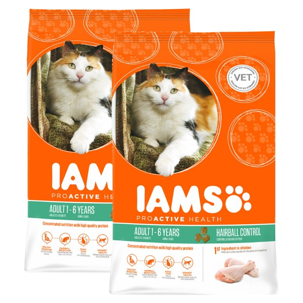 IAMS Katze Adult Hairball Control Huhn 2x10kg