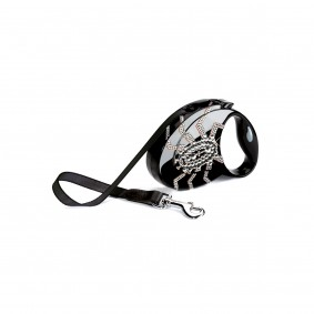 flexi Luxury Roll-Leine GLAM Spider schwarz