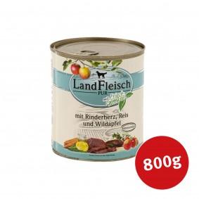 Landfleisch Hunde-Nassfutter Dog Pur Rinderherz, Reis und Wildapfel