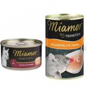 Miamor Feine Filets in Jelly Huhn und Schinken 24x100g + Trinkfein 135ml GRATIS!