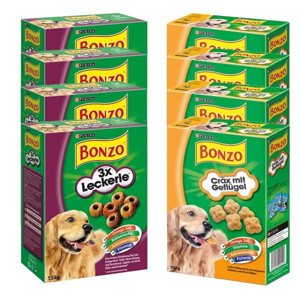 Bonzo Hundesnacks 8x500g Mixpaket 3x Leckerle + Cräx mit Geflügel