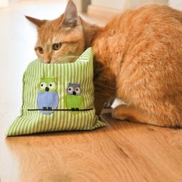 Aumüller Katzenspielkissen Eule Leander mit Katzenminze und Dinkelspelz