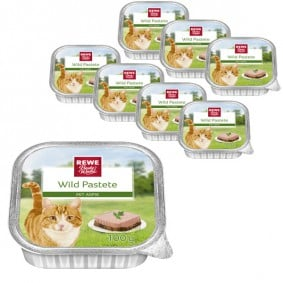 REWE Beste Wahl Katzenfutter Wild Pastete auf Aspik