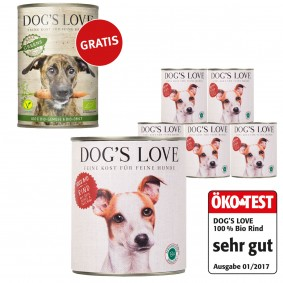 Dog's Love Bio Rind 6x400g + 400g Bio Greens GRATIS