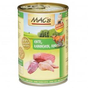 MAC's Cat Nassfutter Fleischmenü Ente, Kaninchen & Rind 400g 20+4 Gratis!