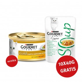 Gourmet Gold Zarte Häppchen Huhn & Leber 48x85g + Crystal Soup mit Huhn und Gemüse 10x40g GRATIS!