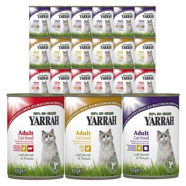 Yarrah Katzenfutter Bio Bröckchen Multipack Geflügel und Rind 36x405g
