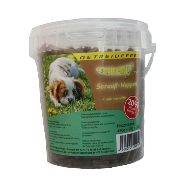 Caniland Hundesnack Soft Snacks Strauß & Kartoffel Getreidefrei 450g
