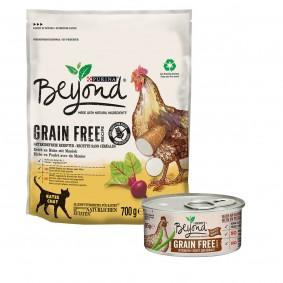 Purina Beyond Getreidefrei Huhn mit grünen Bohnen 24x85g + Huhn mit Maniok 700g