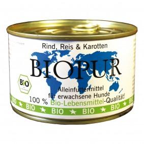 Briesen Angebote BIOPUR GmbH & Co KG Hundefutter Bio Rind, Reis, Karotten 12x400g