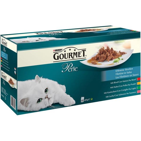 GOURMET Perle Erlesene Streifen mit Huhn, Rind, Lachs und Kaninchen 60x85g