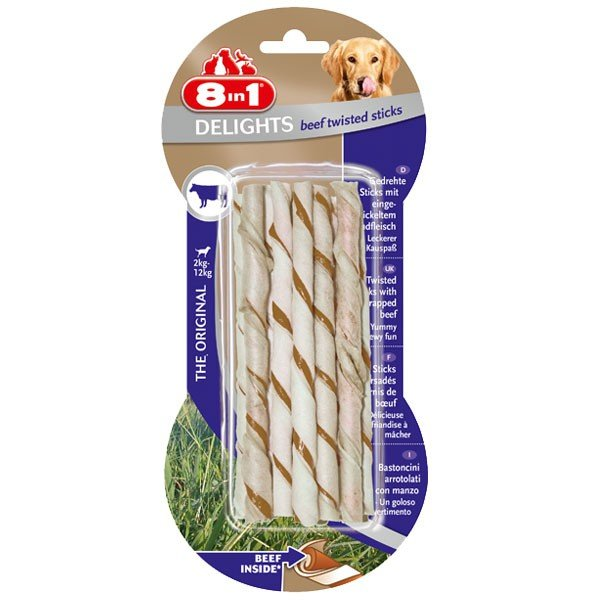 8in1 Hundesnack Delights Beef Twisted Sticks - ...