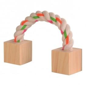 Trixie Baumwollspielseil mit Holzklötzchen für Hamster 20cm