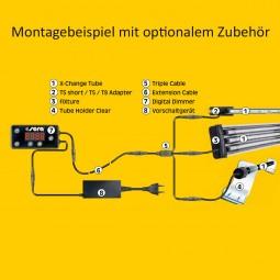 Sera Aufsatzlampe für LED Röhren fiXture black