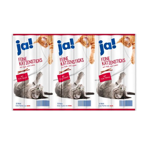 ja! Feine Katzensticks mit Kalb und Lamm 10 Stück
