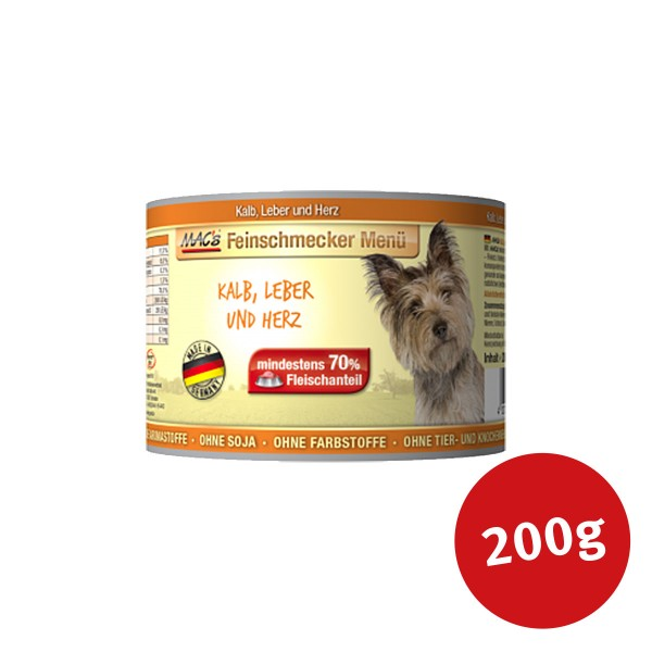 MAC's Dog Hundefutter Feinschmecker Menü Kalb, Leber und Herz