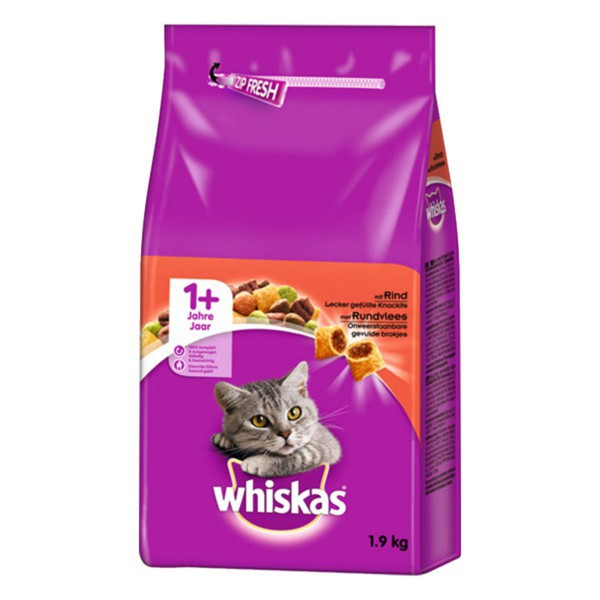 Whiskas Trockenfutter 1+ mit Rind