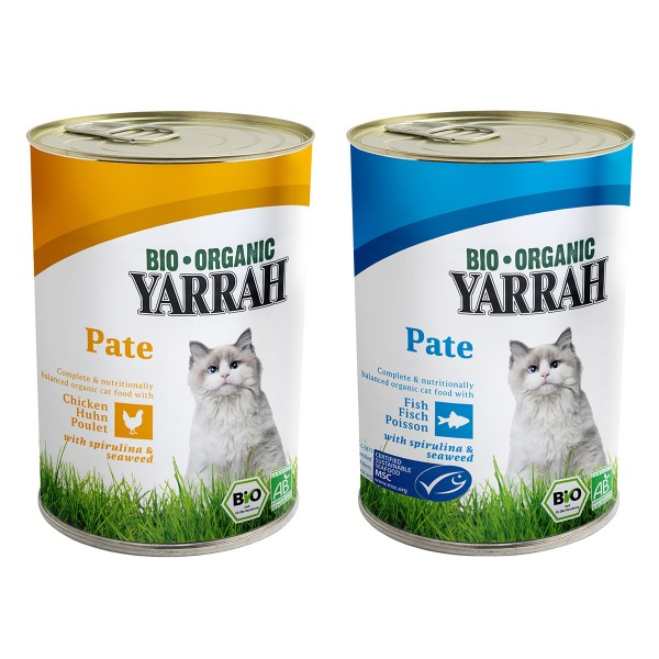 Yarrah Katzenfutter Bio Pate Multipack Fisch und Huhn 24x400g