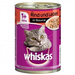 Whiskas Adult 1+ mit Rind & Leber in Sauce 12x400g