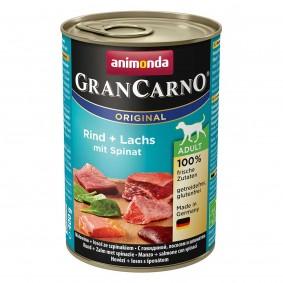 Animonda Hundefutter GranCarno Adult Hundefutter Rind  und Lachs mit Spinat