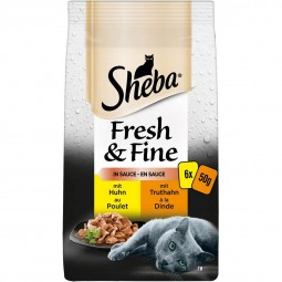 Sheba Fresh & Fine in Sauce mit Huhn & Truthahn