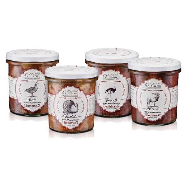O'Canis Hunde-Nassfutter Traditionell Probierpaket 4x300g
