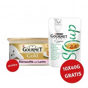 Gourmet Gold Soufflé Lachs 48x85g + Crystal Soup mit Huhn und Gemüse 10x40g GRATIS!