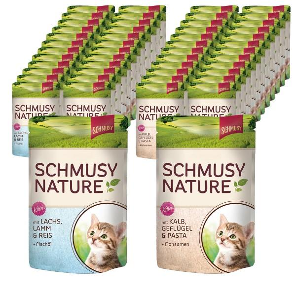 Schmusy Nature's Menü Kitten im Pouchbeutel 48x100g in 2 verschiedenen Sorten