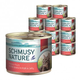 Schmusy Katzenfutter Nature Meeres-Fisch Roter Barsch pur 12x185g