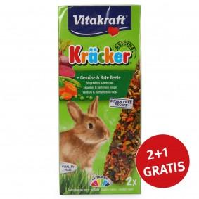 Vitakraft Zwergkaninchen Kräcker mit Gemüse & Rote Beete 2+1 Gratis