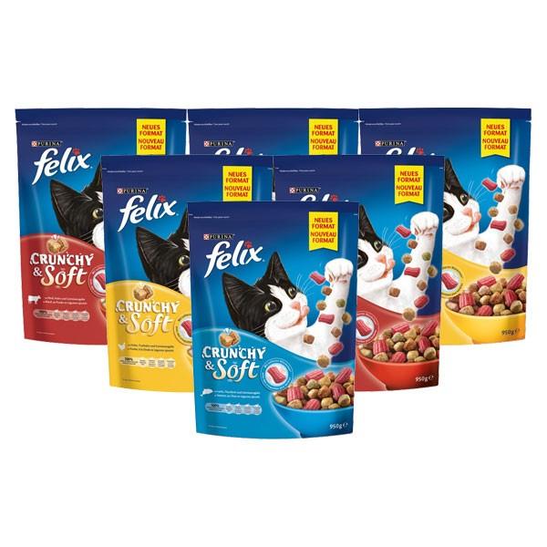 Felix Katzenfutter Crunchy & Soft Trockenfutter 6x950g