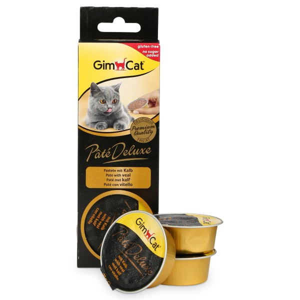 GimCat Katzensnack Pâté Deluxe mit Kalb 3x21g