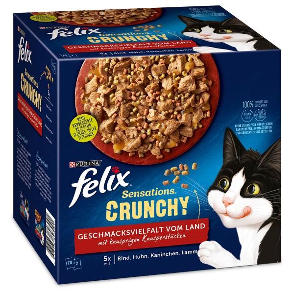FELIX Sensations Crunchy in Gelee mit Crunchy Knusperstückchen Geschmacksvielfalt vom Land 20x84g +2