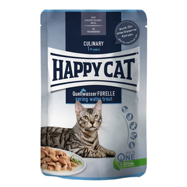 Happy Cat Tray Culinary Meat in Sauce Quellwasser Forelle